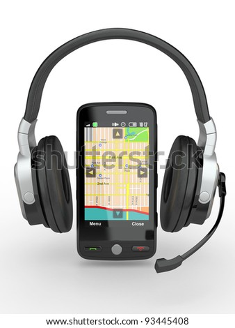Supervisor. Mobile phone with headphones on white background. 3d