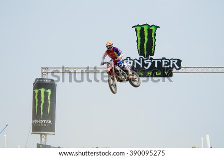 SUPHANBURI - MARCH 06 : Alessandro Lupino #77 with Honda Motorcycle in competes during the FIM MXGP Motocross Wolrd Championship Grand Prix of Thailand 2016 on March 06, 2016 in Suphanburi, Thailand. - stock photo
