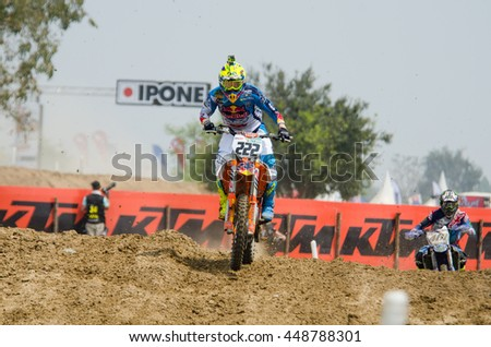 SUPHANBURI - MARCH 06 : Antonio Cairoli #222 with KTM Motorcycle in competes during the FIM MXGP Motocross Wolrd Championship Grand Prix of Thailand 2016 on March 06, 2016 in Suphanburi, Thailand. - stock photo