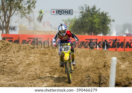 SUPHANBURI - MARCH 06 : Ben Townley #8 with Suzuki Motorcycle in competes during the FIM MXGP Motocross Wolrd Championship Grand Prix of Thailand 2016 on March 06, 2016 in Suphanburi, Thailand. - stock photo