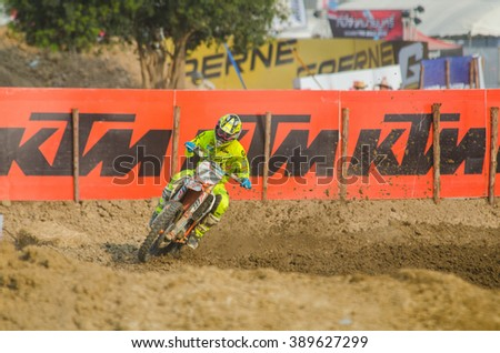SUPHANBURI - MARCH 06 : Butron Jose #17 with KTM Motorcycle in competes during the FIM MXGP Motocross Wolrd Championship Grand Prix of Thailand 2016 on March 06, 2016 in Suphanburi, Thailand. - stock photo
