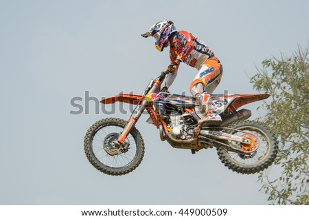 SUPHANBURI - MARCH 06 : Glenn Coldenhoff #259 with KTM Motorcycle in competes during the FIM MXGP Motocross Wolrd Championship Grand Prix of Thailand 2016 on March 06, 2016 in Suphanburi, Thailand. - stock photo