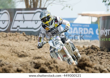 SUPHANBURI - MARCH 06: Maximilian Nagl #12 with Husqvarma Motorcycle in competes during the FIM MXGP Motocross Wolrd Championship Grand Prix of Thailand 2016 on March 06, 2016 in Suphanburi, Thailand. - stock photo