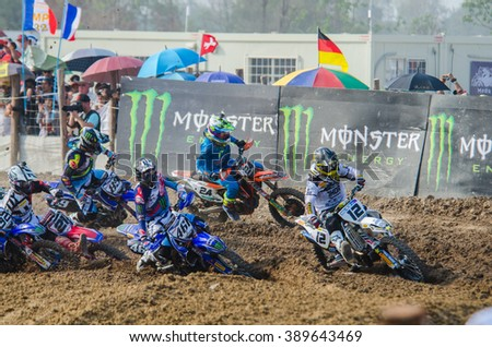 SUPHANBURI - MARCH 06: Maximilian Nagl #12 with Husqvarna Motorcycle in competes during the FIM MXGP Motocross Wolrd Championship Grand Prix of Thailand 2016 on March 06, 2016 in Suphanburi, Thailand. - stock photo