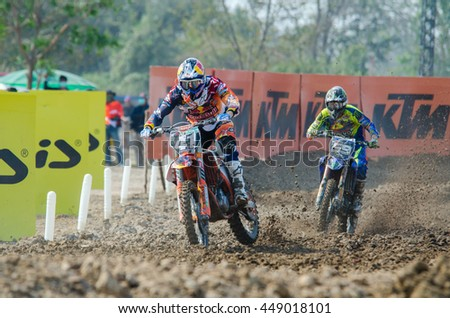 SUPHANBURI - MARCH 06 : Pauls Jonass #41 with KTM Motorcycle in competes during the FIM MXGP Motocross Wolrd Championship Grand Prix of Thailand 2016 on March 06, 2016 in Suphanburi, Thailand. - stock photo