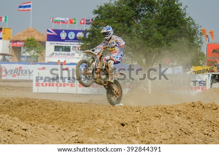SUPHANBURI - MARCH 06 : Roberts Justs #95 with KTM Motorcycle in competes during the FIM MXGP Motocross Wolrd Championship Grand Prix of Thailand 2016 on March 06, 2016 in Suphanburi, Thailand. - stock photo
