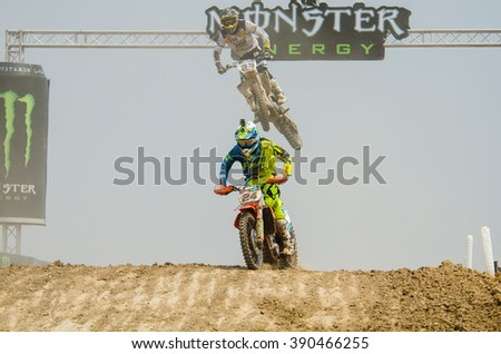 SUPHANBURI - MARCH 06 : Shaun Simpson #24 with KTM Motorcycle in competes during the FIM MXGP Motocross Wolrd Championship Grand Prix of Thailand 2016 on March 06, 2016 in Suphanburi, Thailand. - stock photo