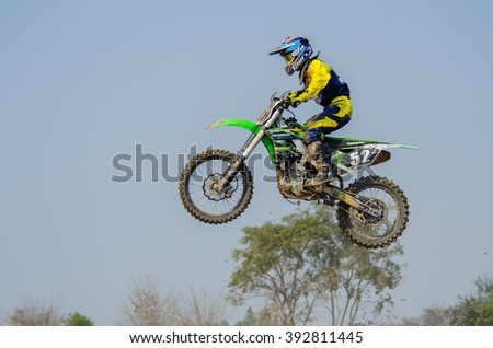 SUPHANBURI - MARCH 06 : Shota Ueda #52 with Kawasaki Motorcycle in competes during the FIM MXGP Motocross Wolrd Championship Grand Prix of Thailand 2016 on March 06, 2016 in Suphanburi, Thailand. - stock photo
