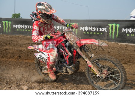 SUPHANBURI-MARCH 05:Tim Gajser Team Honda Garibodi in competes during Qualifying Race MXGP class the FIM Motocross Wolrd Championship Grand Prix of Thailand on March 05,2016 in Thailand. - stock photo