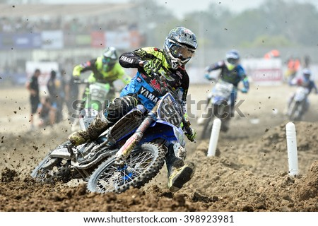 SUPHANBURI-MARCH 06:Valentin Guillod Team Kemea Yamaha Yamalube in competes during  Race1 MXGP class the FIM Motocross Wolrd Championship Grand Prix of Thailand on March 06,2016 in Thailand. - stock photo