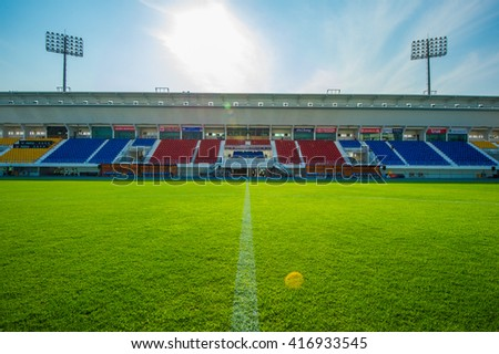 SUPHANBURI, THAILAND- APRIL7: The stadium of Suphanburi FC during the competition Thai League 2016 between Suphanburi FC and Sukhothai FC at Suphanburi Stadium on April7, 2016 in Suphanburi, Thailand.