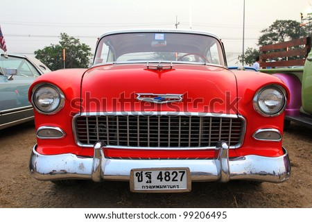 "SUPHANBURI, THAILAND - MARCH 31: Classic Car Chevrolet exhibited at the annual motor show ""American Car Carnival"" on March 31, 2012 in Suphanburi, Thailand."