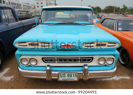 "SUPHANBURI, THAILAND - MARCH 31: old Chevrolet classic car exhibited at the annual motor show ""American Car Carnival"" on March 31, 2012 in Suphanburi, Thailand."