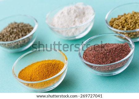 Supplement food powders in glass bowls - stock photo