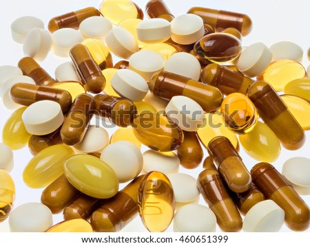 supplements on white background