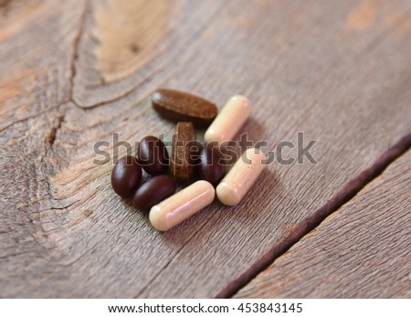 Supplements, pills or medicine for medical use or nutrition - stock photo