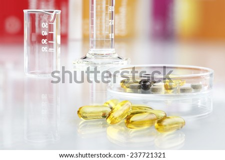supplements vitamins pills isolated omega 3 - stock photo