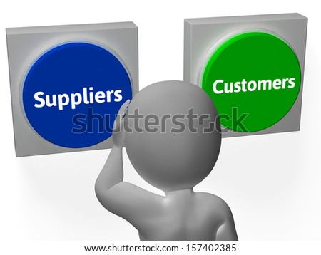 Suppliers Customers Buttons Showing Supplier Or Distributor - stock photo