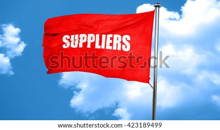 suppliers, 3D rendering, a red waving flag - stock photo
