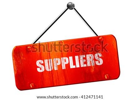 suppliers, 3D rendering, vintage old red sign - stock photo