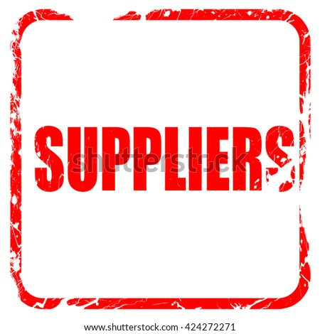 suppliers, red rubber stamp with grunge edges - stock photo