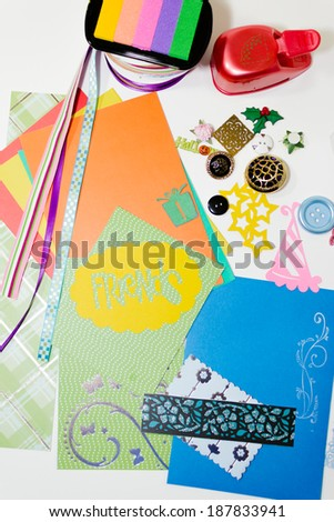 Supplies for making paper crafts, gifts, scrapbooks and decoration - stock photo