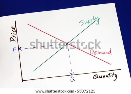 Supply and demand curves isolated on blue - stock photo