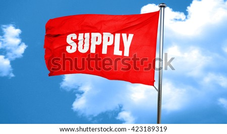 supply, 3D rendering, a red waving flag - stock photo