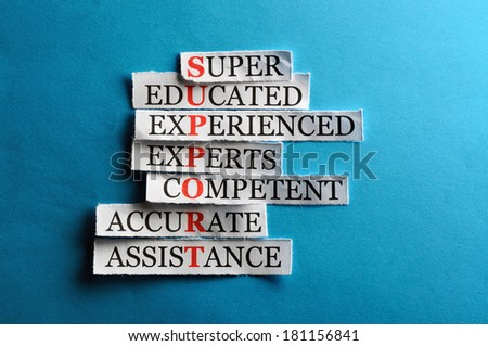 Support acronym in business concept, words on cut paper hard light  - stock photo