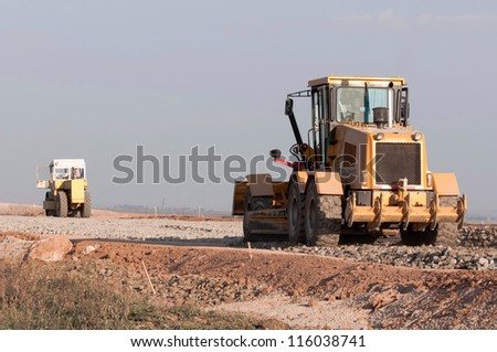 Support activities for the construction of roads and highways. Road under construction. - stock photo