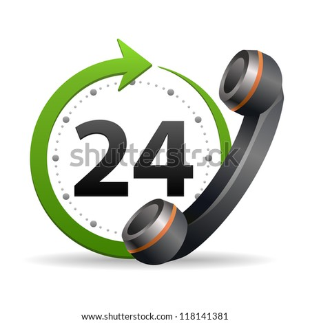 Support and service - around the clock or 24 hours a day icon isolated on white background - stock photo
