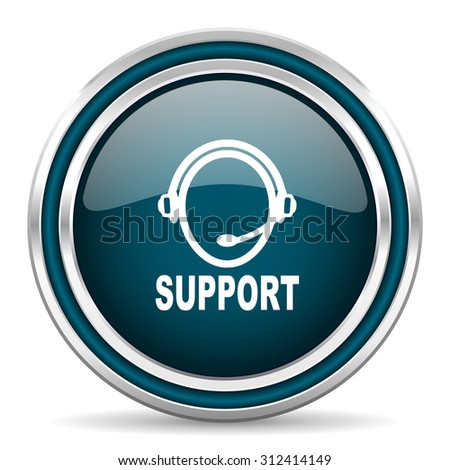 support blue glossy web icon with double chrome border on white background with shadow    - stock photo