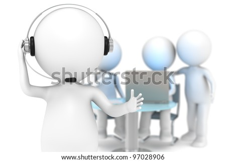 Support. 3D little human character with a Headset. DOF background with working people. Business People series.