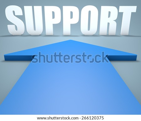 Support - 3d render concept of blue arrow pointing to text. - stock photo