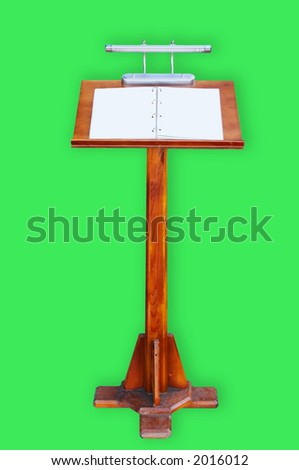 Support for the restaurant menu on a green background - stock photo