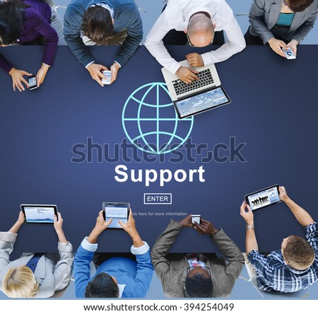Support Global Business Software Homepage Concept - stock photo