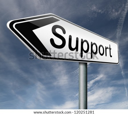 support in help desk or online assistance support button or support icon
