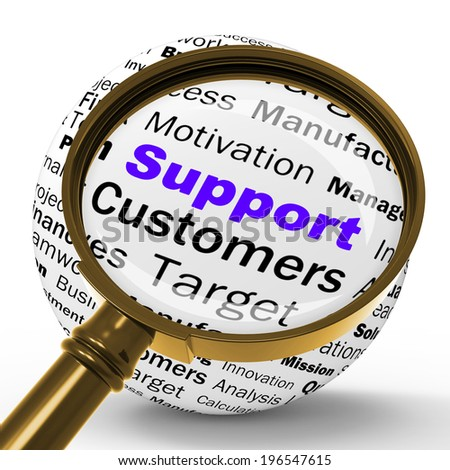 Support Magnifier Definition Showing Customer Support Help Or Assistance - stock photo