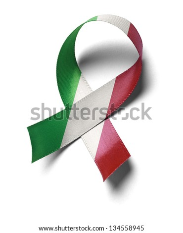 Support Mexico flag colors ribbon isolated on white background. - stock photo