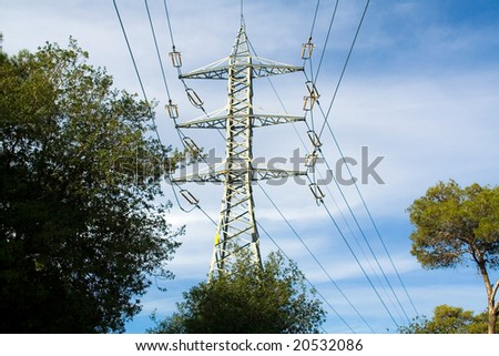 Support of a high-voltage line. Pines. Landscape. Sky.