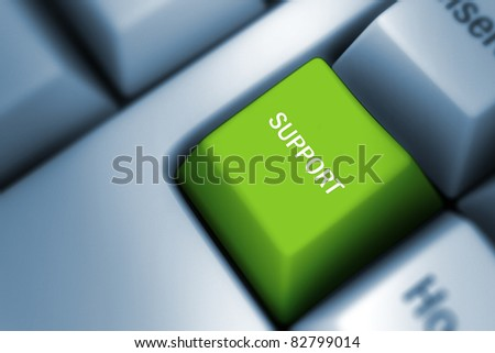 support on a computer keyboard - stock photo