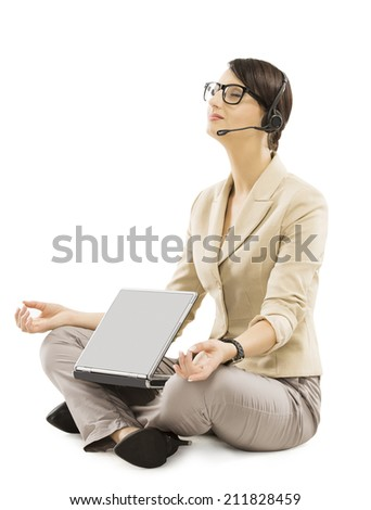 support operator relax with notebook headset, business woman isolated over white background, employee rest in working place - stock photo