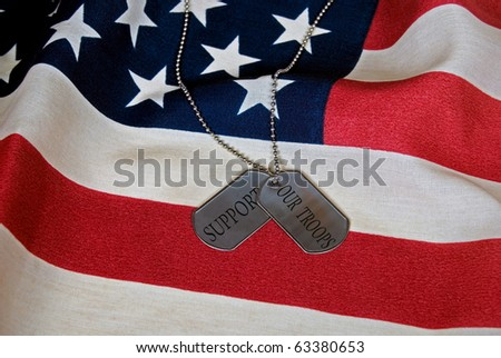 support our troops message on dog tags