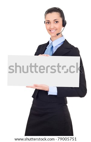 support phone operator in headset holding blank banner, isolated on white background - stock photo