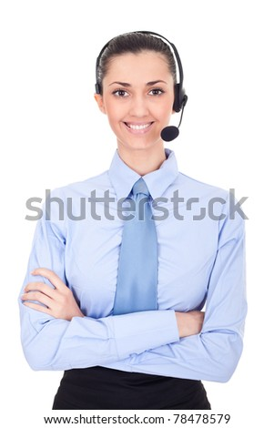 support phone operator in headset on white - stock photo