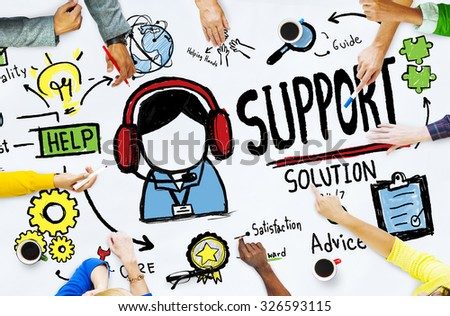 Support Solution Advice Help Care Satisfaction Quality Concept - stock photo