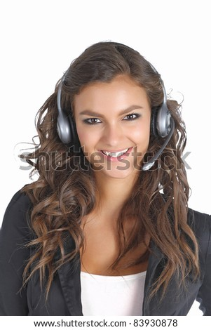 Support technician smiling with a headset - stock photo