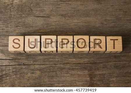 support text on wooden cubes - stock photo