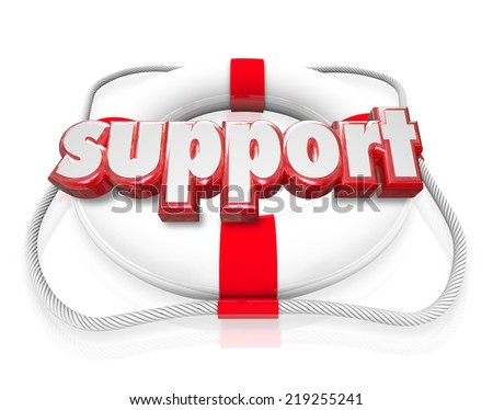 Support word in red 3d letters on a life preserver as rescue, sos, assistance and safety provisions to someone in trouble or need - stock photo