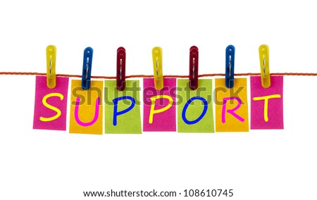 Support word on laundry hook on white - stock photo